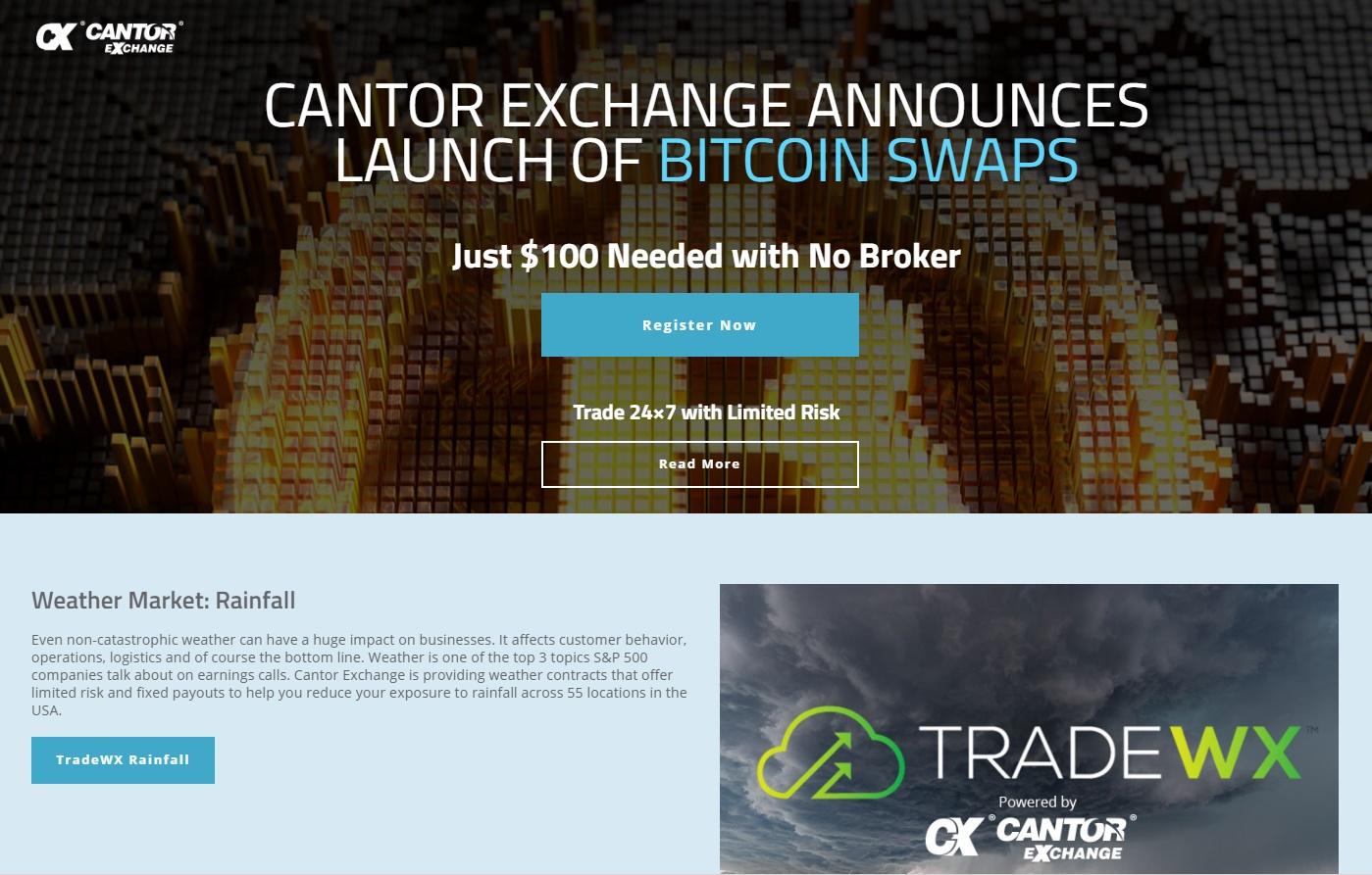 Cantor Exchange Website Screenshot