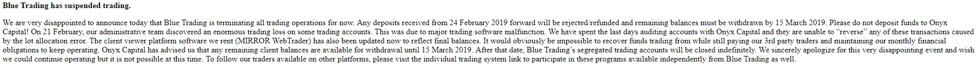 Blue Trading has suspended trading - screenshot from bluetrading.com