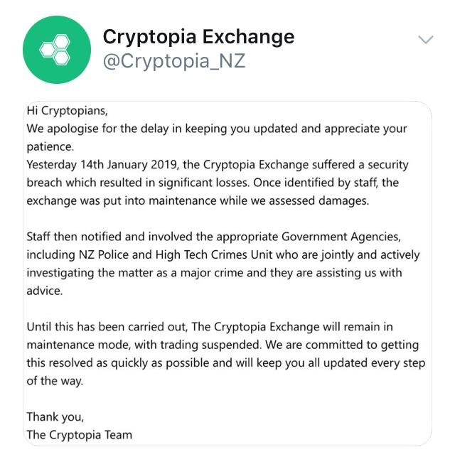 Cryptopia Hack Announcement Reddit
