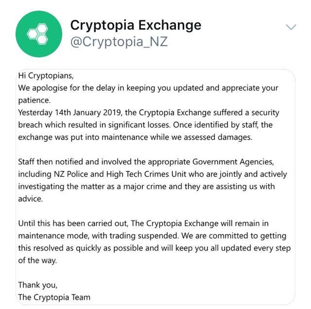 Cryptopia Hack Announcement Reddit