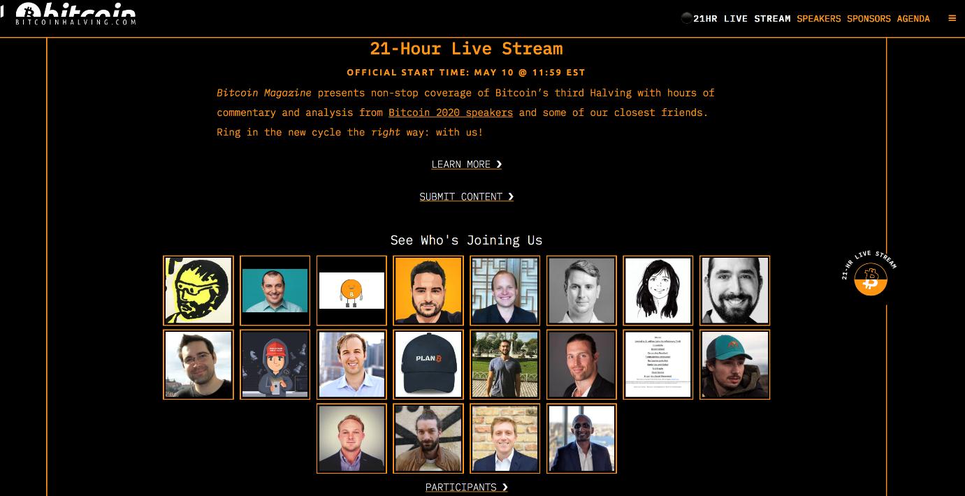 Bitcoinhalving.com: 21-Hour Live Stream