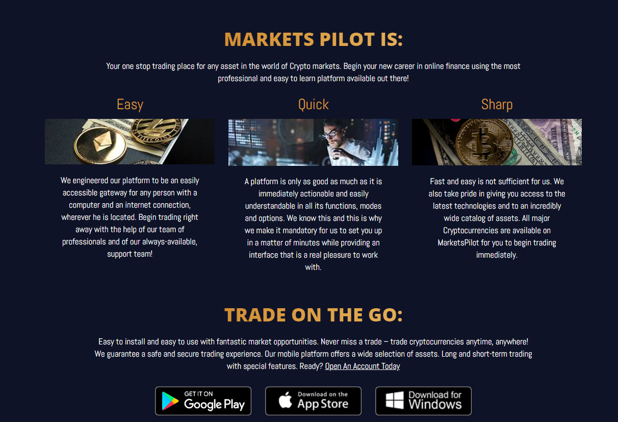 Markets Pilot features