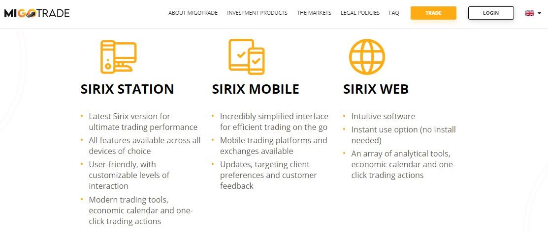 MIGOTRADE trading platforms