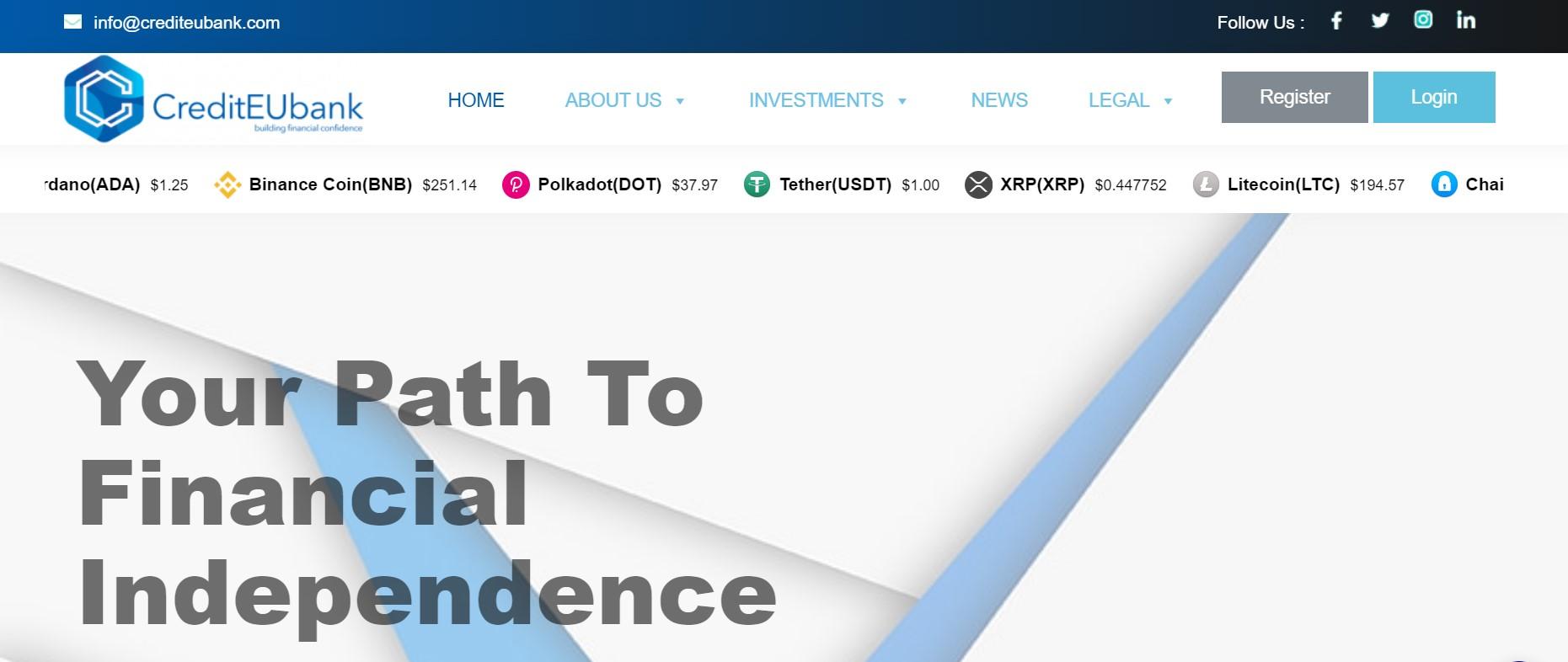 CreditEUbank website