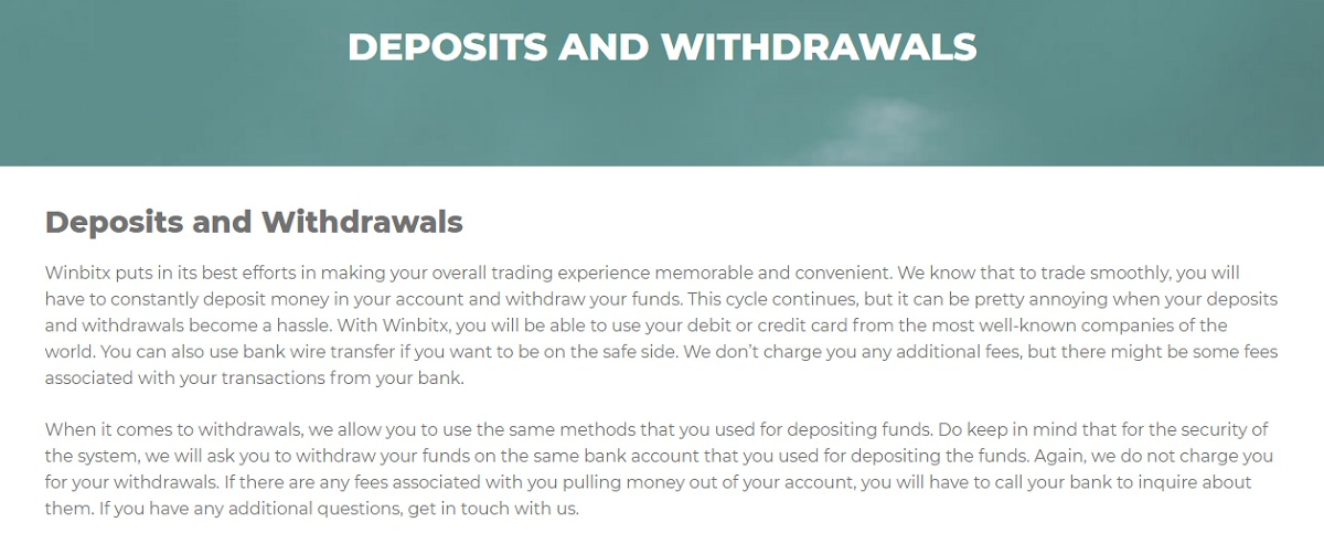 Winbitx DEPOSITS AND WITHDRAWALS